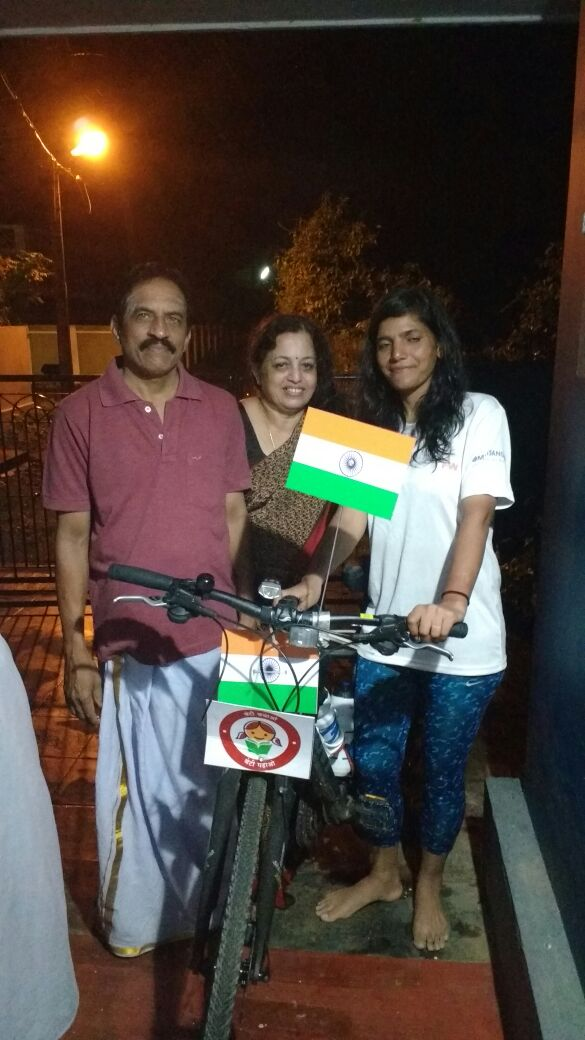 Host in Palakkad Kerala in her solo cycle expedition