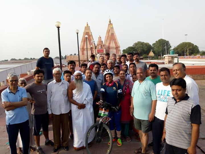 Sunita at Brahmasarovar - Solo Cycling expedition