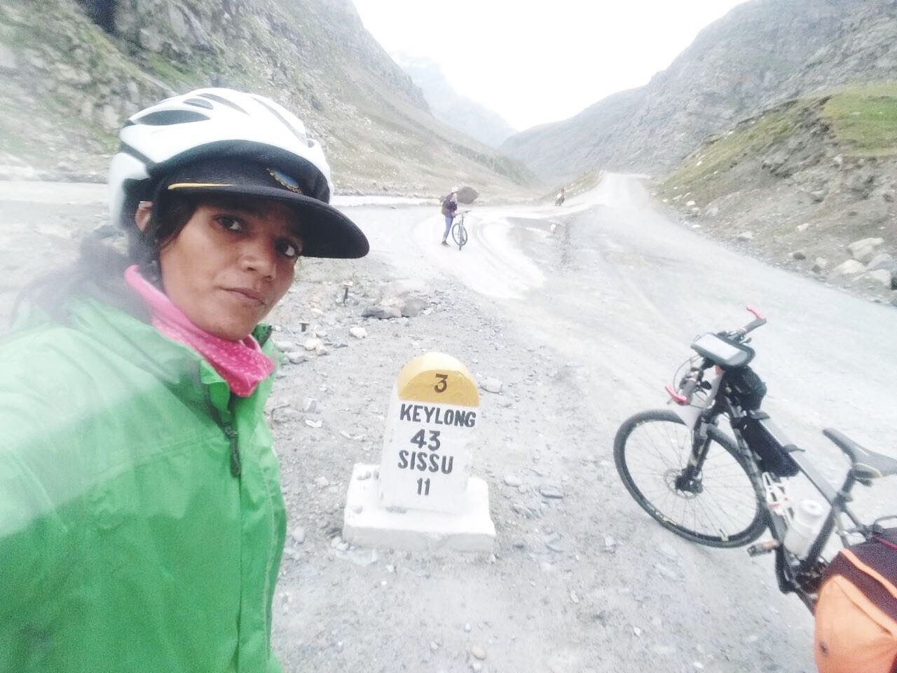 Bad road conditions- challenging for Sunitas bike