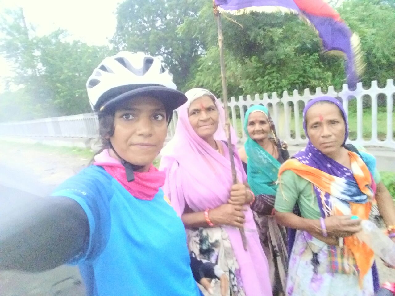 Sunita Singh Choken with Pilgrims on solo cycling expedition